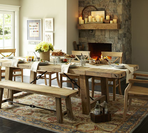Pottery Barn Rustic Dining Room Table-canadianloghomes.com