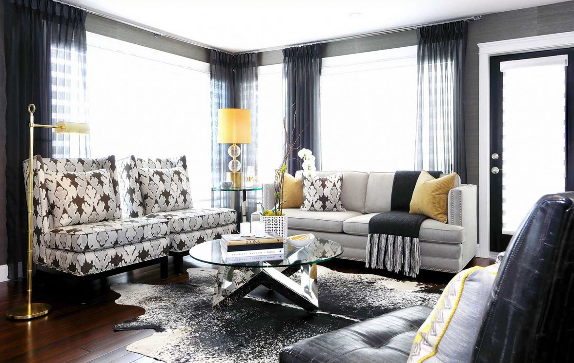 Yellow and black living room decorating ideas