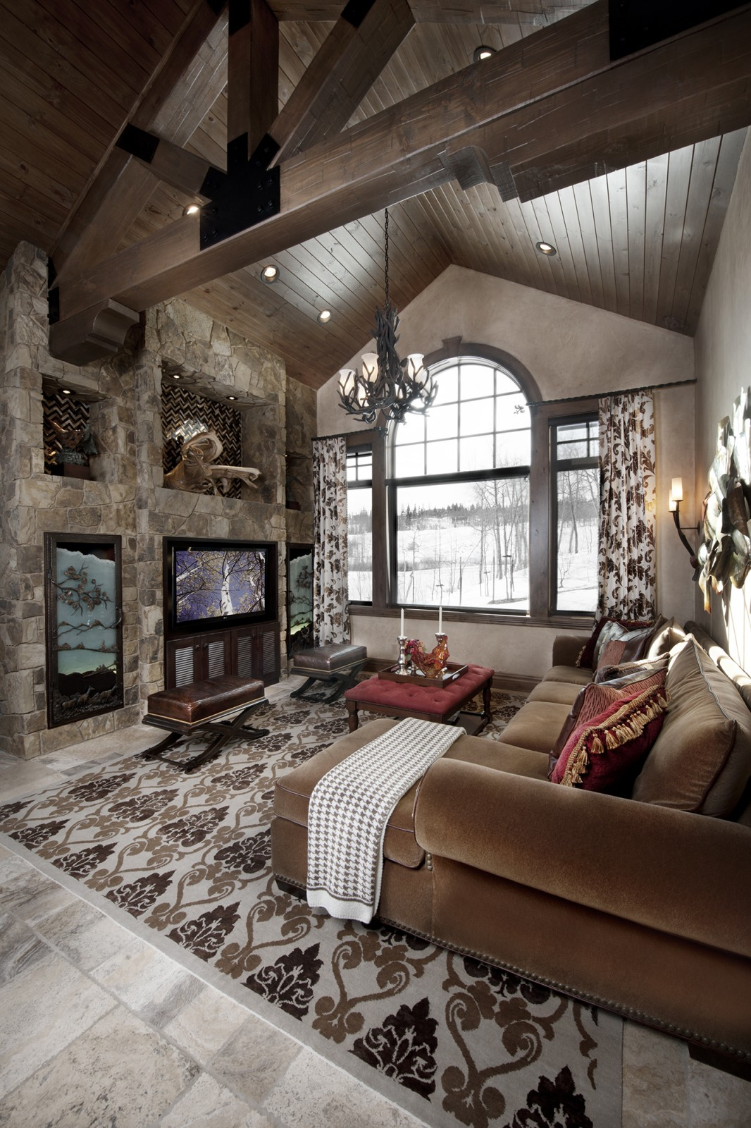 Rustic design ideas canadian log homes for Home interior drawing room