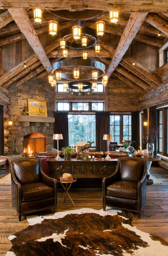 Rustic design ideas canadian log homes for Log home living room ideas