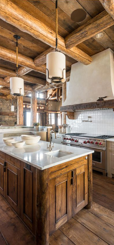 Rustic design ideas canadian log homes for Log home kitchen designs