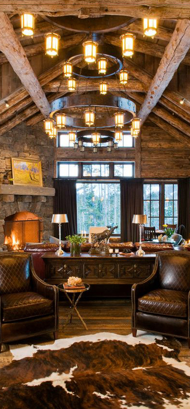 Rustic design ideas canadian log homes for Log living room