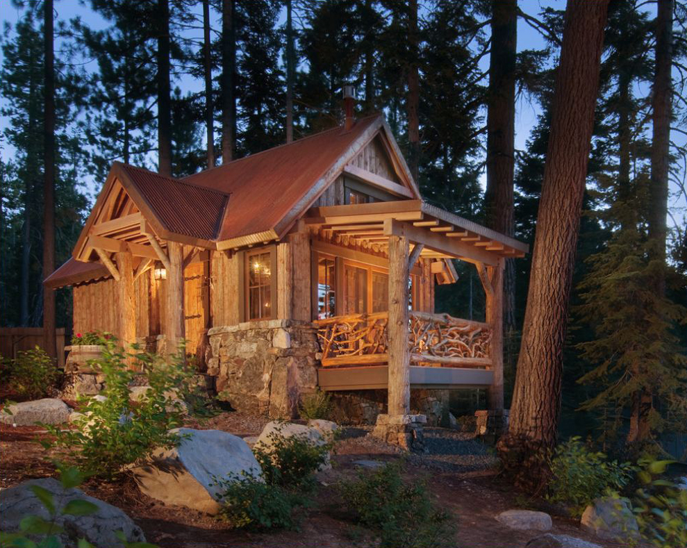 Log Cabin Design Ideas fabulous log home interior decorating idea for living room with brown sofas brown table Ward Young Cozy Tahoe Cabin