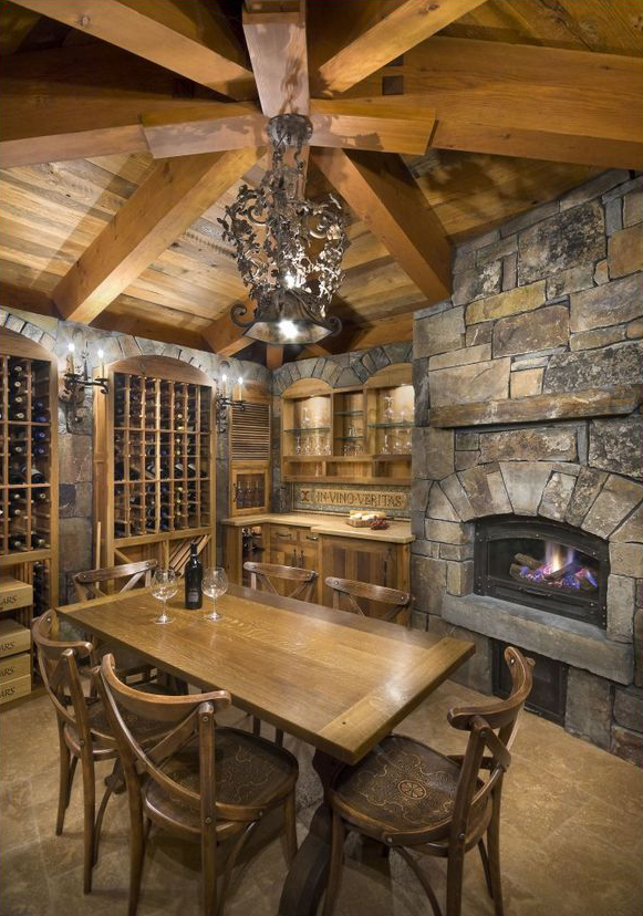 Rustic design ideas canadian log homes for Wine cellar plans