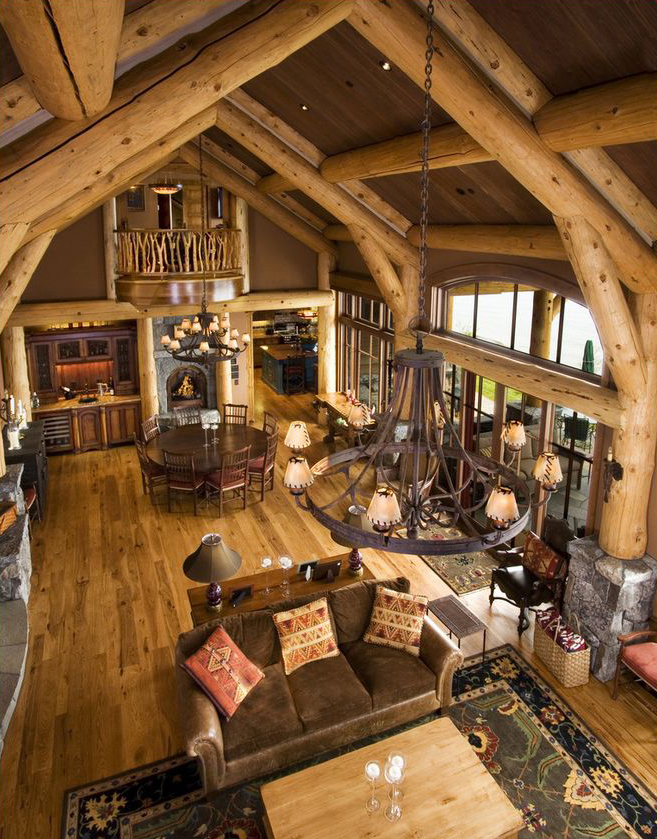 Rustic design ideas canadian log homes for Log home interior designs