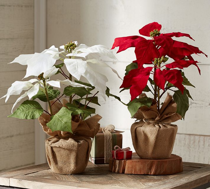 Faux Potted Poinsettia