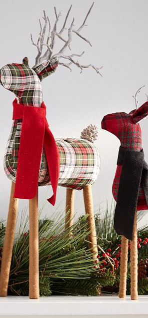 Plaid Fabric Reindeer