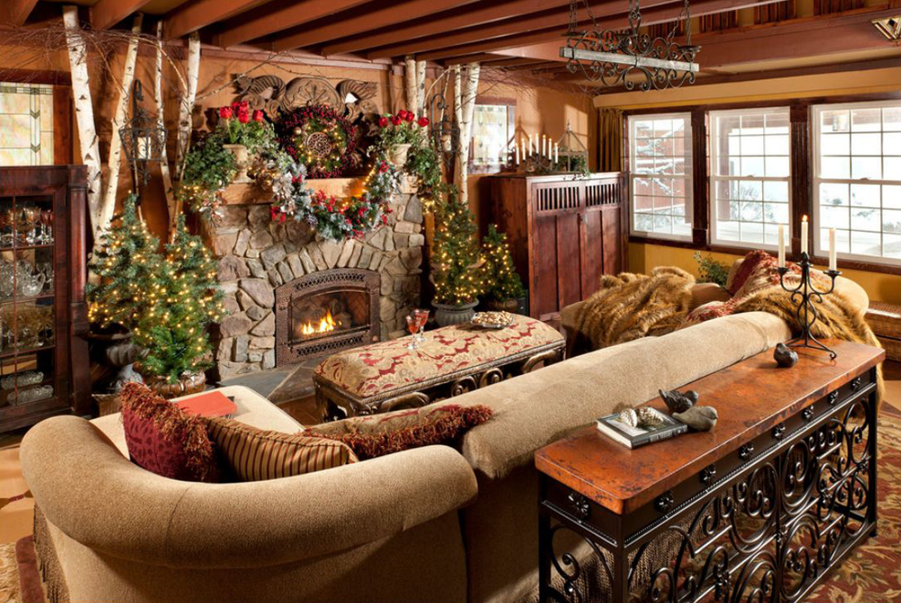 interior rustic christmas decorating ideas in living room with