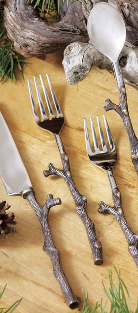 Rustic Antique Copper Twig Flatware