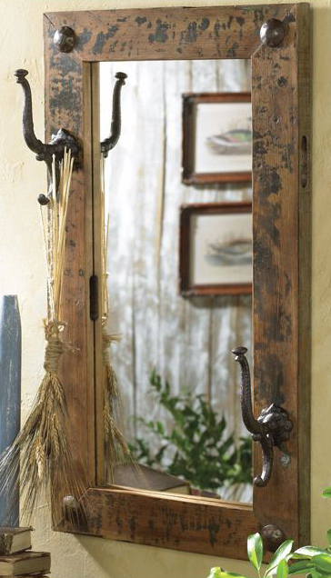 Antiqued Mirror with Hooks