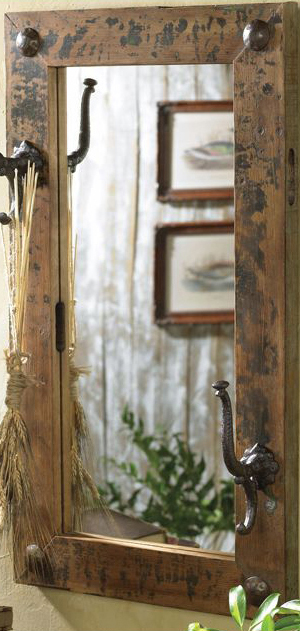 Cabin Decor | Antiqued Mirror with Hooks