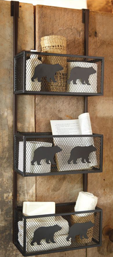 Rustic Bear Bathroom Door Shelf