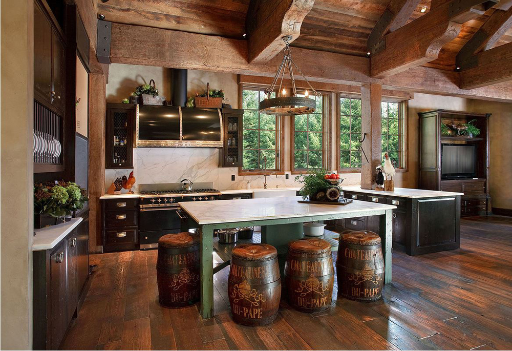 Cabin decor rustic interiors and log cabin decorating ideas for Log home kitchen designs