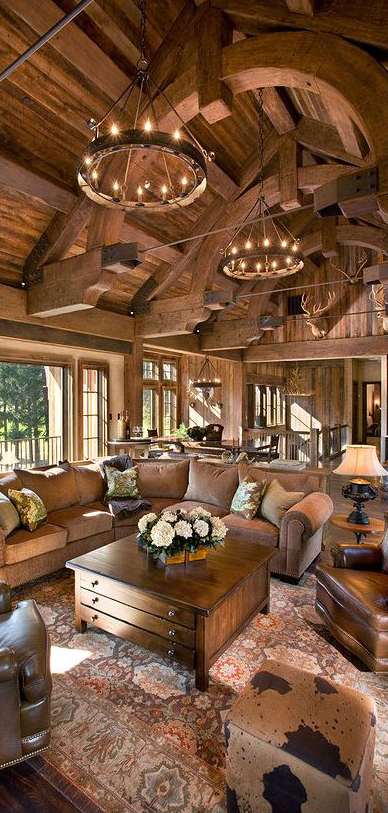 Cabin decor rustic interiors and log cabin decorating ideas for Living room ideas rustic