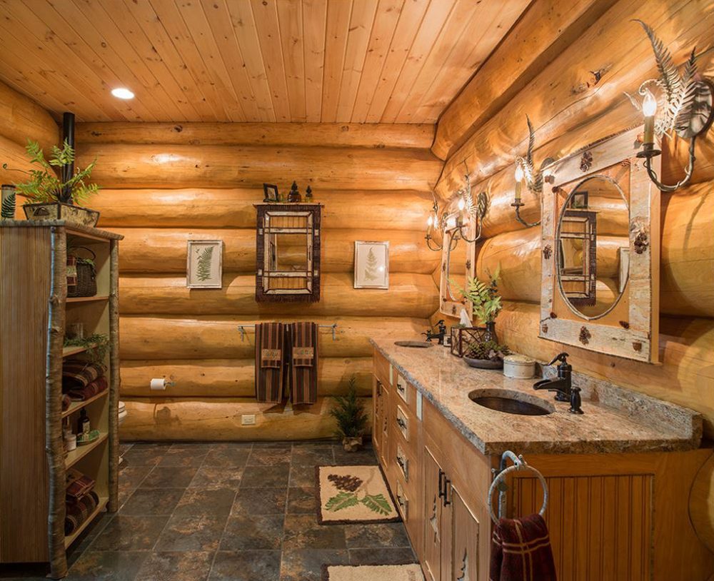 Log homes canadian log homes for Log home bathroom ideas