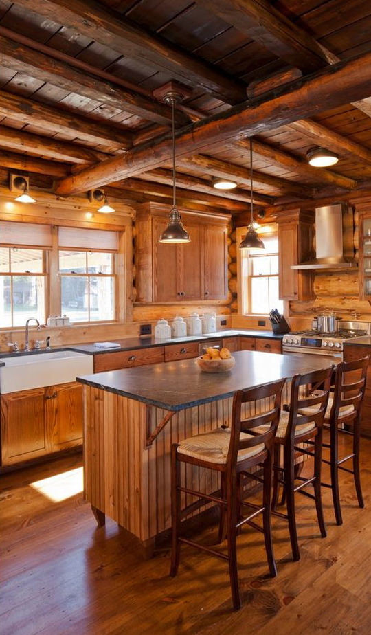 Log homes canadian log homes for Kitchen ideas for log homes