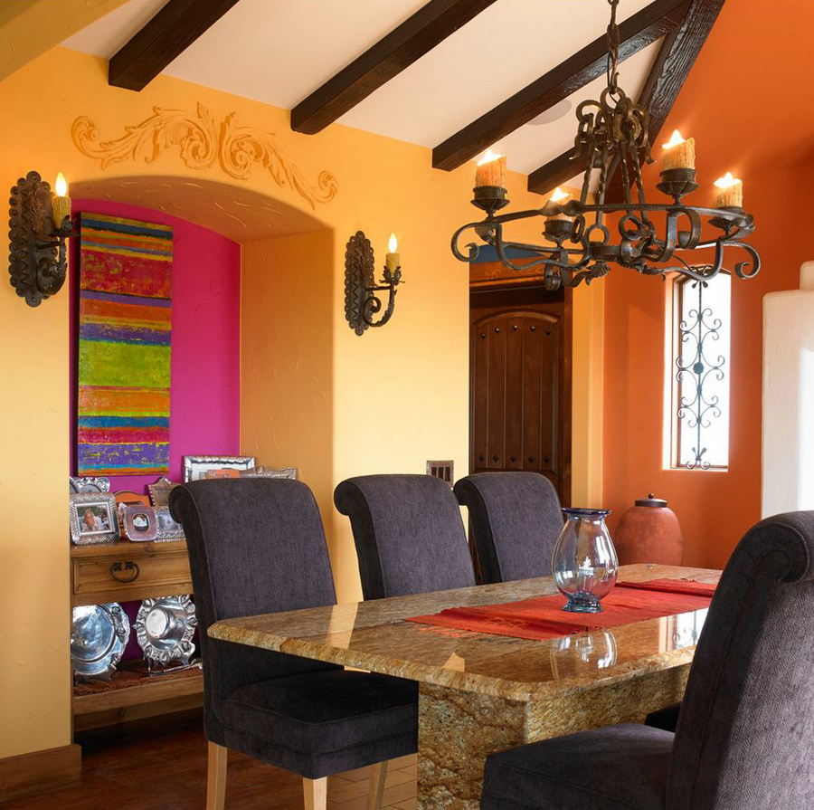 Great use of color in this southwestern dining room designed by the sky is the limit design via houzz