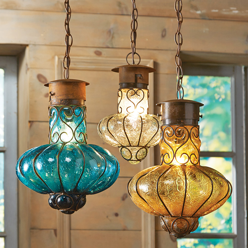 southwestern flower glass lights - Southwestern Decor