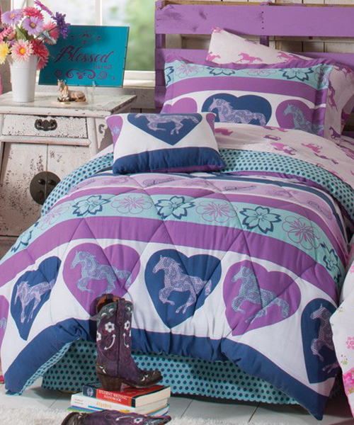 Purple Heart Pony Bedding