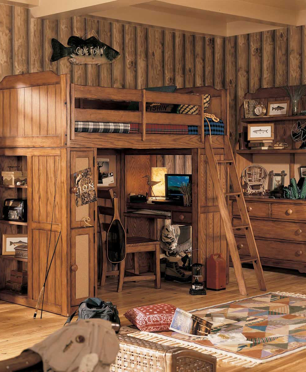 Boys Cabin Theme Bedroom. Kids Rustic Bedding