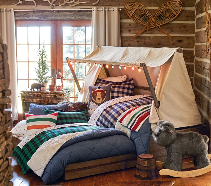 Kids cabin theme bedrooms rustic decor for Log cabin style bunk beds