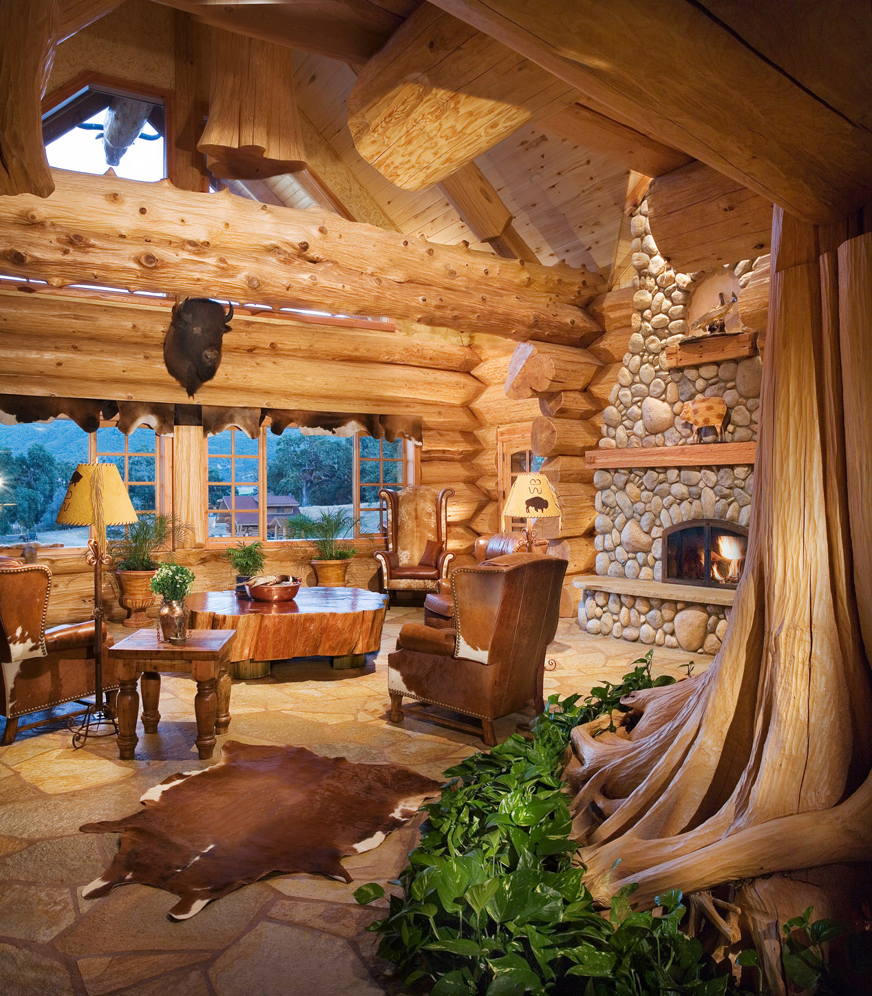 Pioneer log homes log cabins the timber kings Log homes interiors